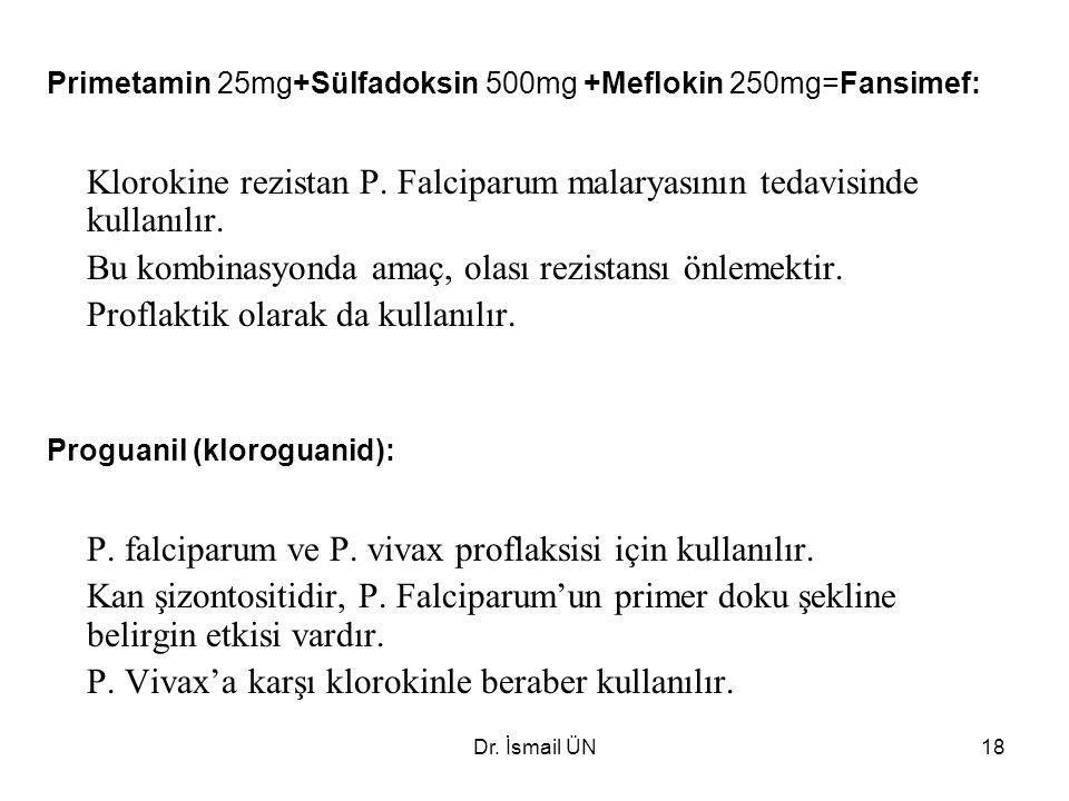 Klorokine rezistan P. Falciparum malaryasının tedavisinde kullanılır.