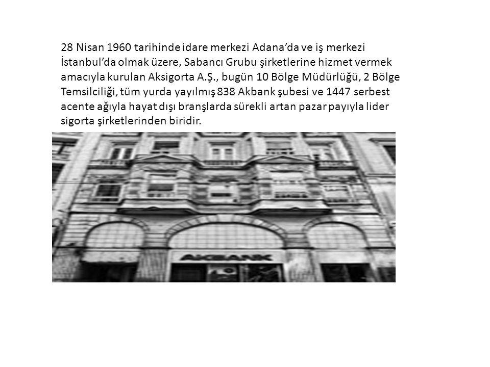 28 Nisan 1960 tarihinde idare merkezi Adana'da ve iş merkezi İstanbul'da olmak üzere, Sabancı Grubu şirketlerine hizmet vermek amacıyla kurulan Aksigorta A.Ş., bugün 10 Bölge Müdürlüğü, 2 Bölge Temsilciliği, tüm yurda yayılmış 838 Akbank şubesi ve 1447 serbest acente ağıyla hayat dışı branşlarda sürekli artan pazar payıyla lider sigorta şirketlerinden biridir.