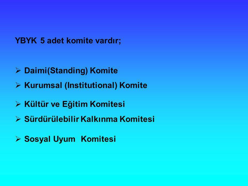 YBYK 5 adet komite vardır;