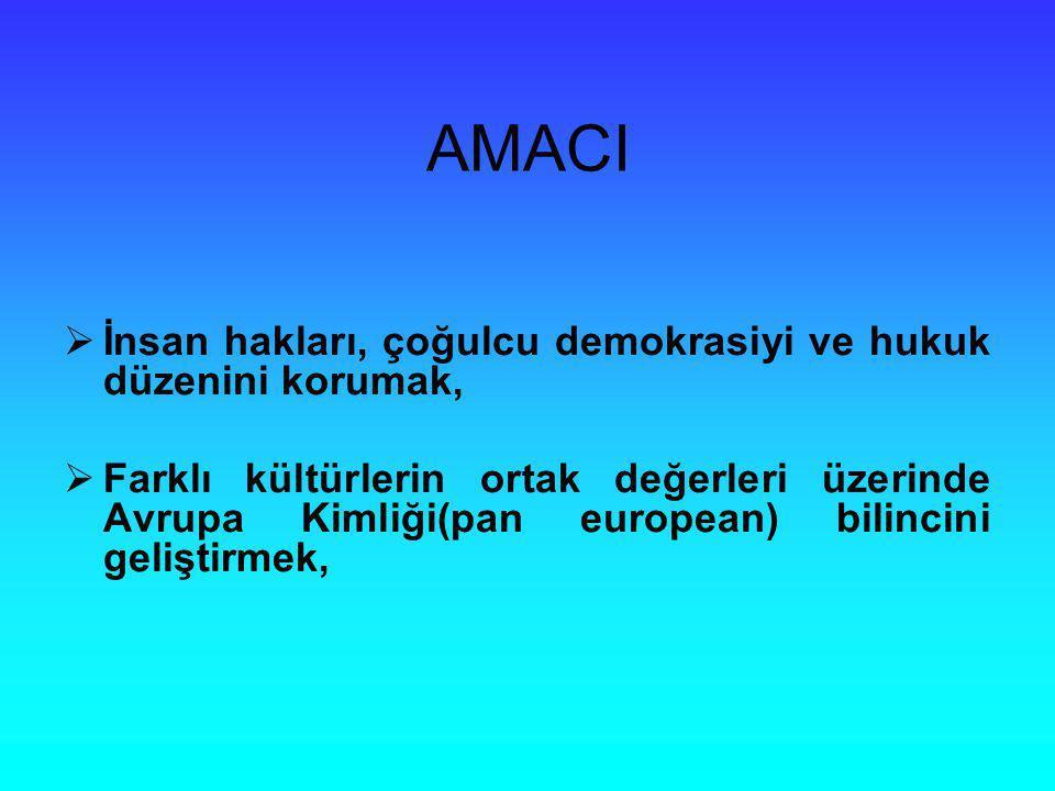AMACI İnsan hakları, çoğulcu demokrasiyi ve hukuk düzenini korumak,