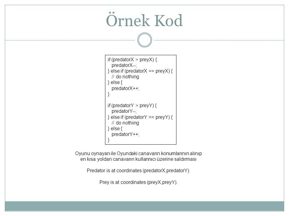 Örnek Kod if (predatorX > preyX) { predatorX--;