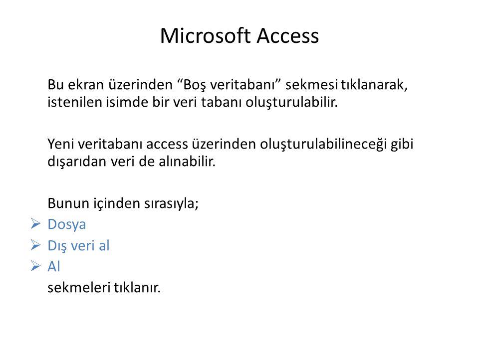 Microsoft Access Bu ekran üzerinden Boş veritabanı sekmesi tıklanarak, istenilen isimde bir veri tabanı oluşturulabilir.