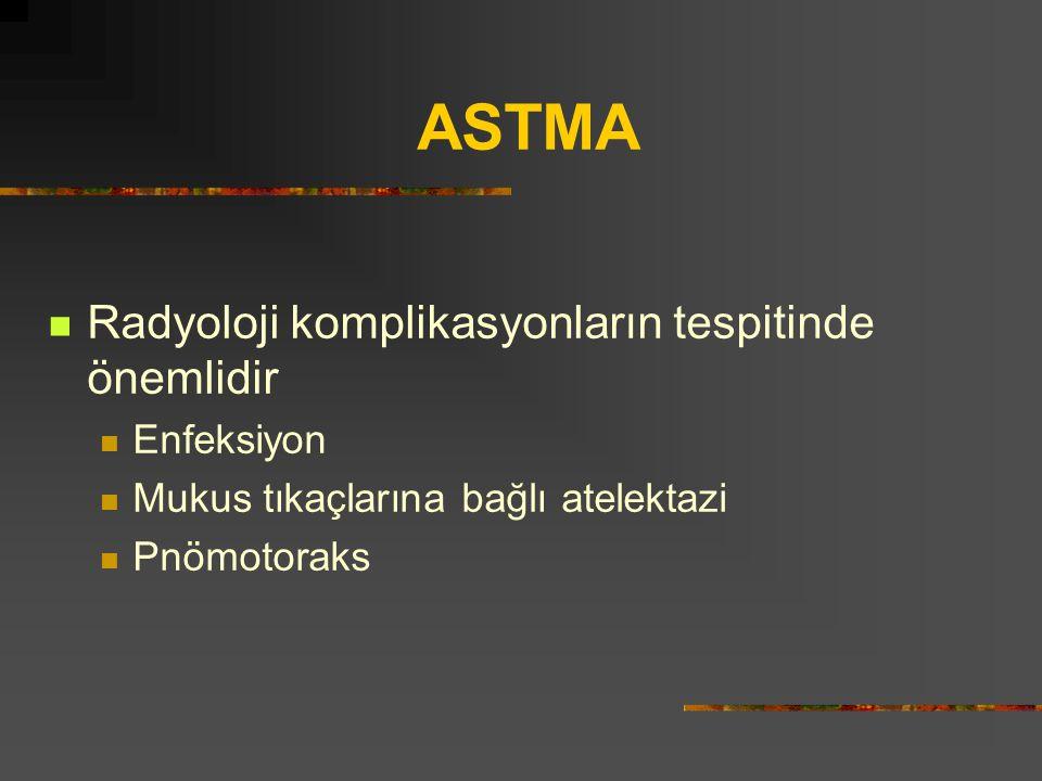 ASTMA Radyoloji komplikasyonların tespitinde önemlidir Enfeksiyon