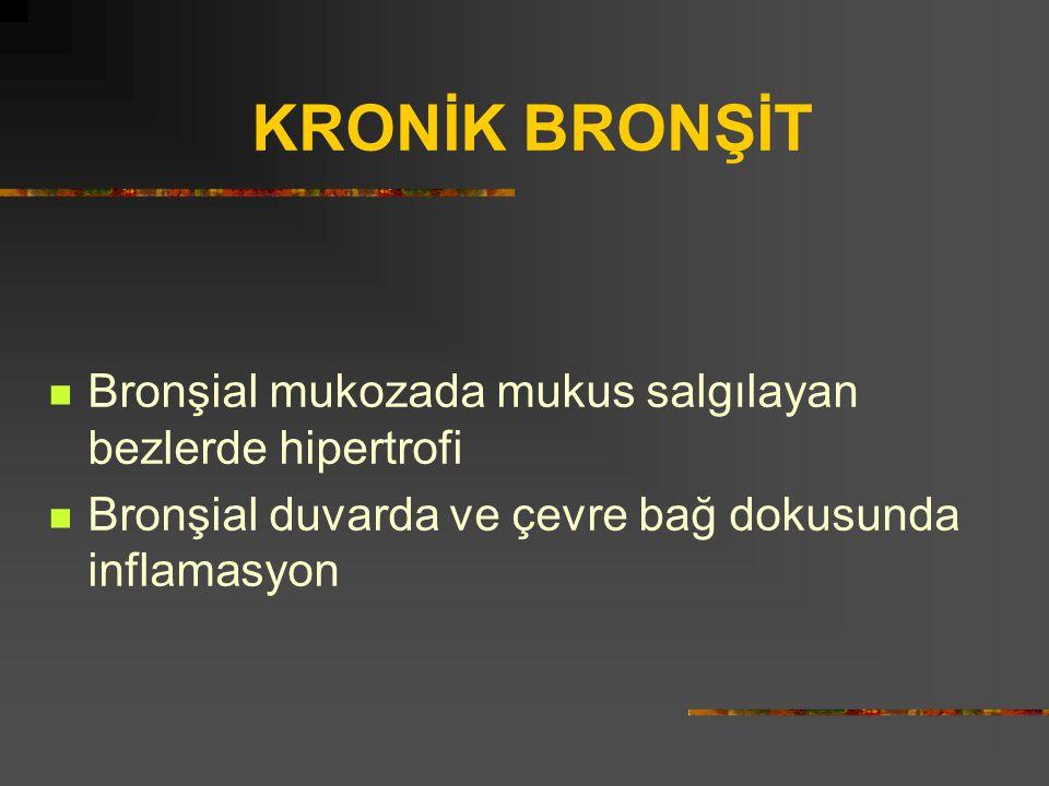 KRONİK BRONŞİT Bronşial mukozada mukus salgılayan bezlerde hipertrofi