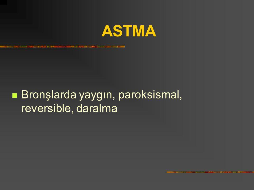 ASTMA Bronşlarda yaygın, paroksismal, reversible, daralma