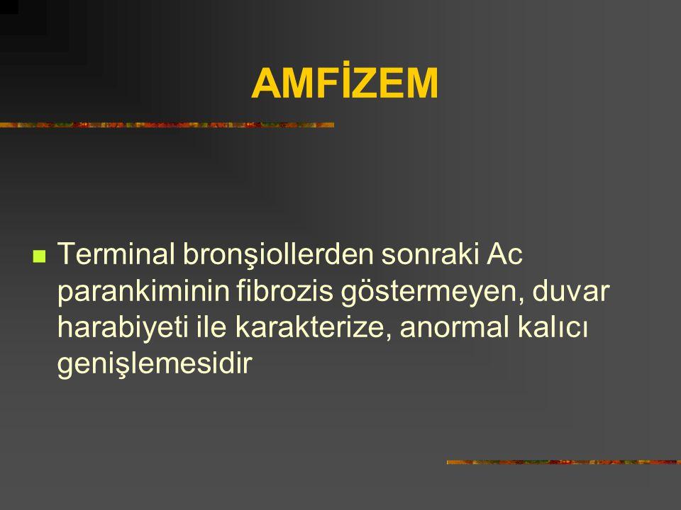 AMFİZEM Terminal bronşiollerden sonraki Ac parankiminin fibrozis göstermeyen, duvar harabiyeti ile karakterize, anormal kalıcı genişlemesidir.