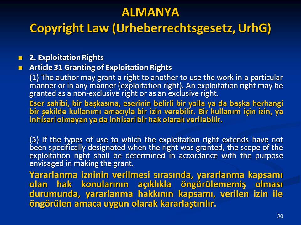 ALMANYA Copyright Law (Urheberrechtsgesetz, UrhG)
