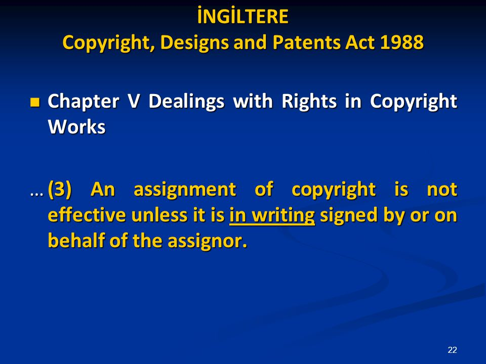 İNGİLTERE Copyright, Designs and Patents Act 1988
