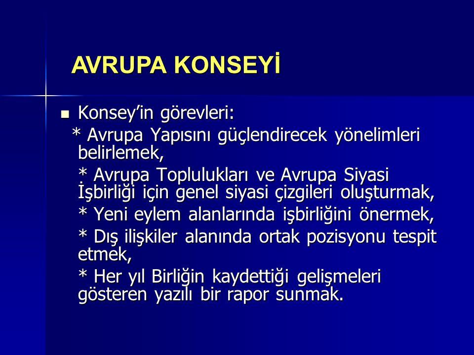 AVRUPA KONSEYİ Konsey'in görevleri: