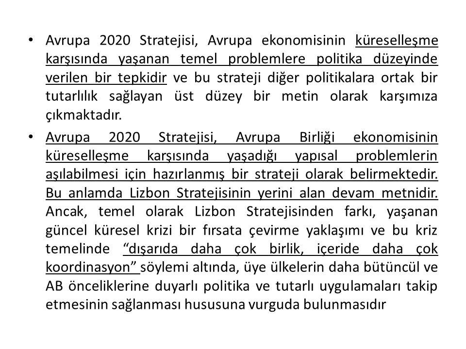 Avrupa 2020 Stratejisi, Avrupa ekonomisinin küreselleşme karşısında yaşanan temel problemlere politika düzeyinde verilen bir tepkidir ve bu strateji diğer politikalara ortak bir tutarlılık sağlayan üst düzey bir metin olarak karşımıza çıkmaktadır.