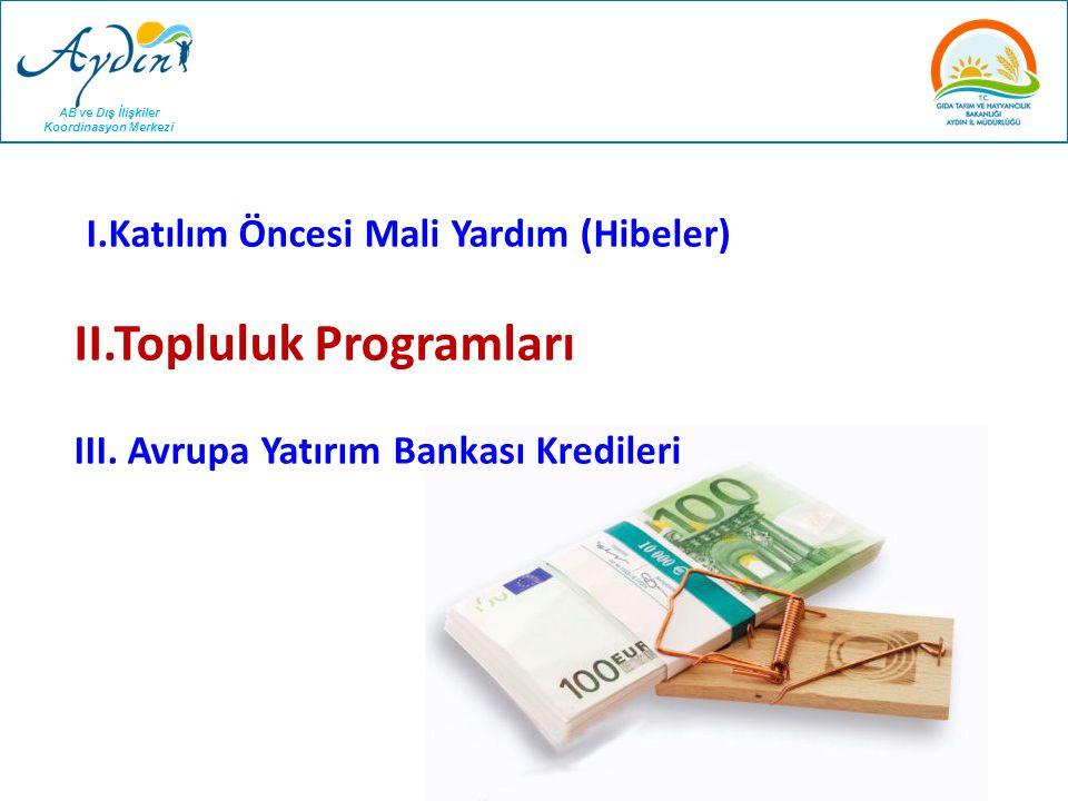 I.Katılım Öncesi Mali Yardım (Hibeler) II.Topluluk Programları