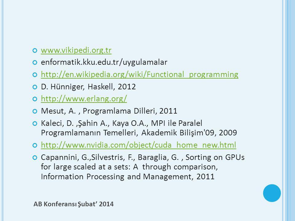 www.vikipedi.org.tr enformatik.kku.edu.tr/uygulamalar. http://en.wikipedia.org/wiki/Functional_programming.