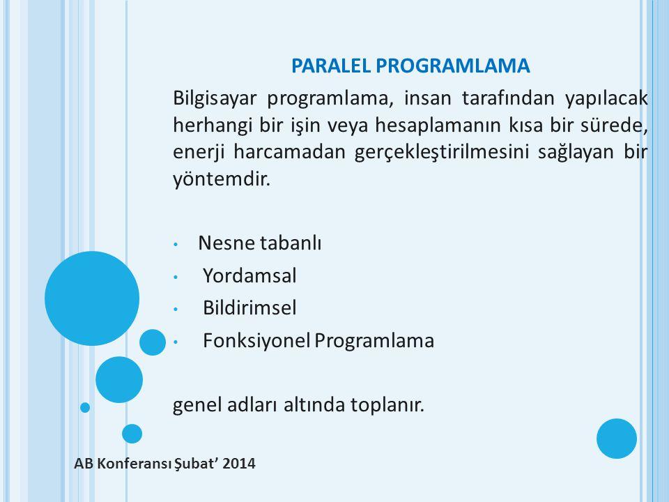 Fonksiyonel Programlama genel adları altında toplanır.