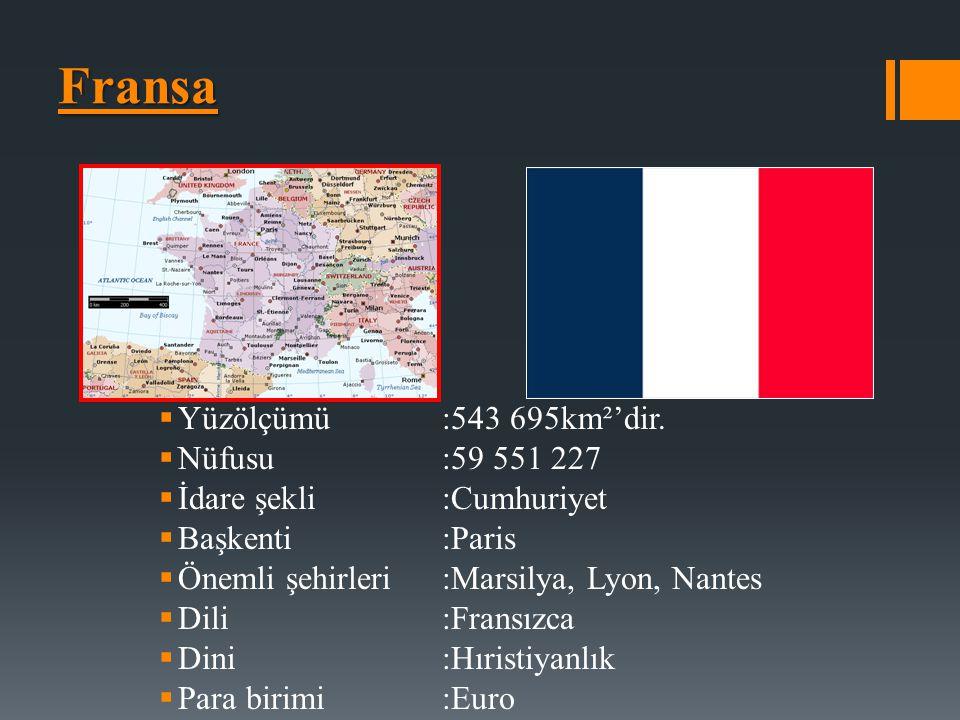 Fransa Yüzölçümü :543 695km²'dir. Nüfusu :59 551 227