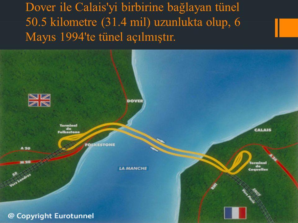Dover ile Calais yi birbirine bağlayan tünel 50. 5 kilometre (31