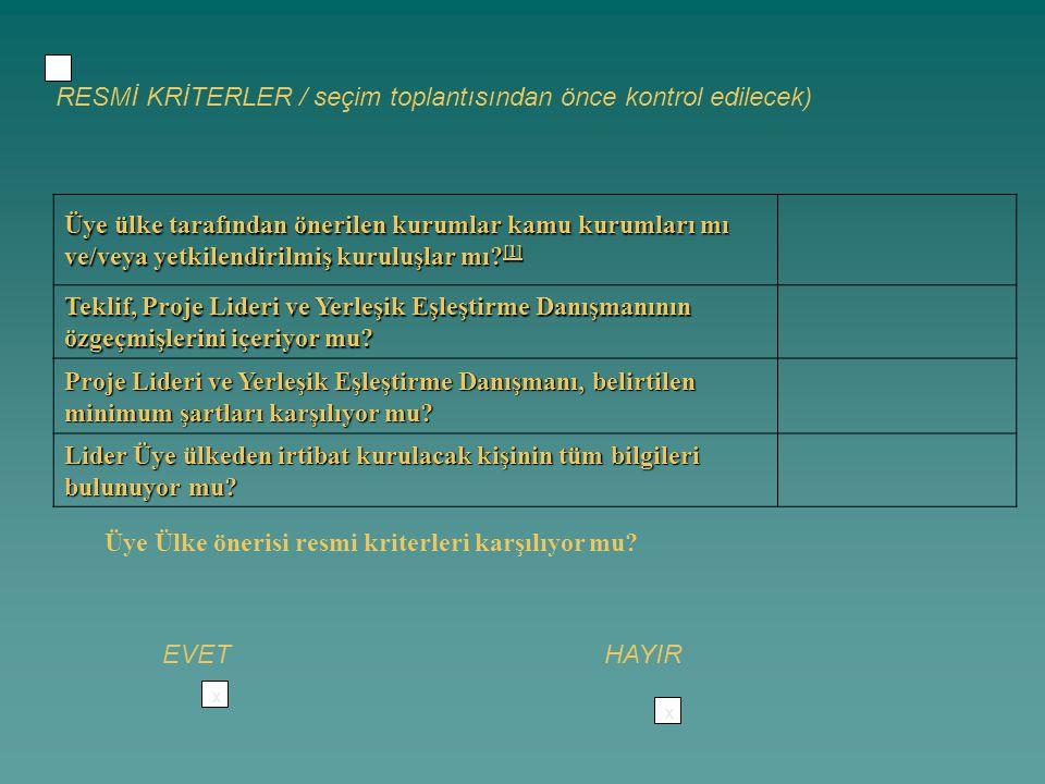RESMİ KRİTERLER / seçim toplantısından önce kontrol edilecek)