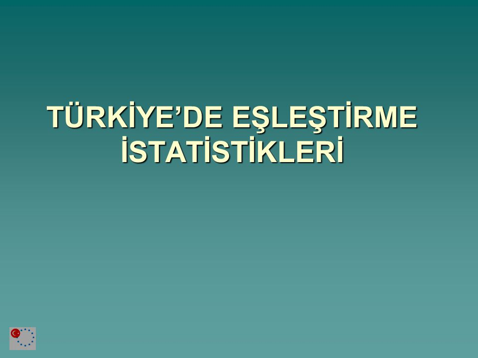 TÜRKİYE'DE EŞLEŞTİRME İSTATİSTİKLERİ