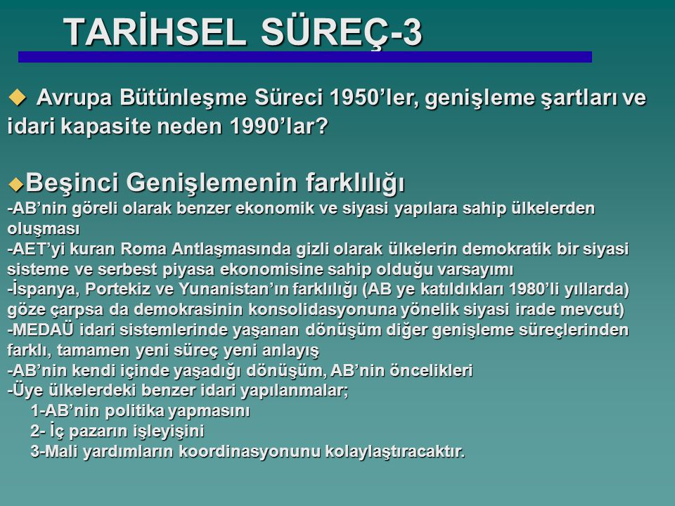 TARİHSEL SÜREÇ-3 Avrupa Bütünleşme Süreci 1950'ler, genişleme şartları ve idari kapasite neden 1990'lar