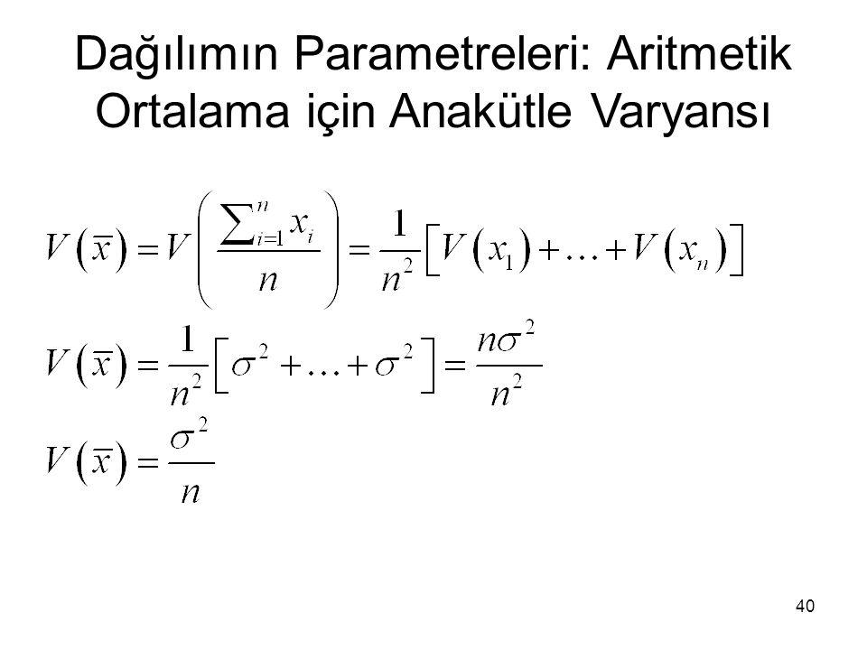 Dağılımın Parametreleri: Aritmetik Ortalama için Anakütle Varyansı