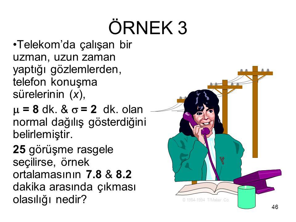 ÖRNEK 3 Telekom'da çalışan bir uzman, uzun zaman yaptığı gözlemlerden, telefon konuşma sürelerinin (x),