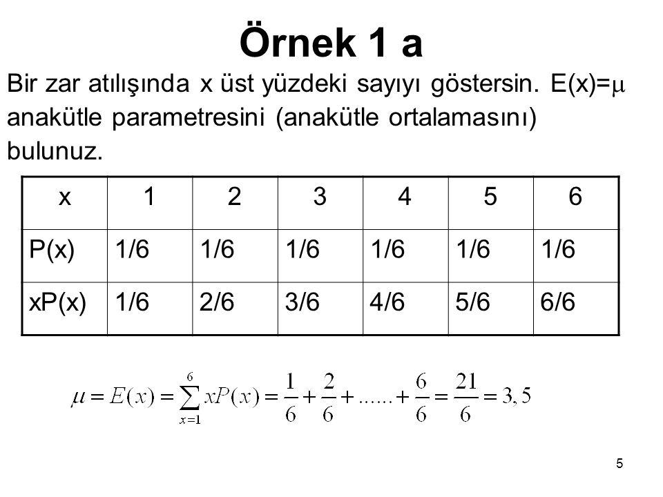 Örnek 1 a Bir zar atılışında x üst yüzdeki sayıyı göstersin. E(x)=