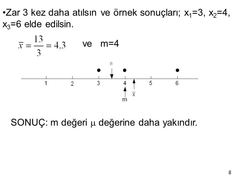 Zar 3 kez daha atılsın ve örnek sonuçları; x1=3, x2=4, x3=6 elde edilsin.