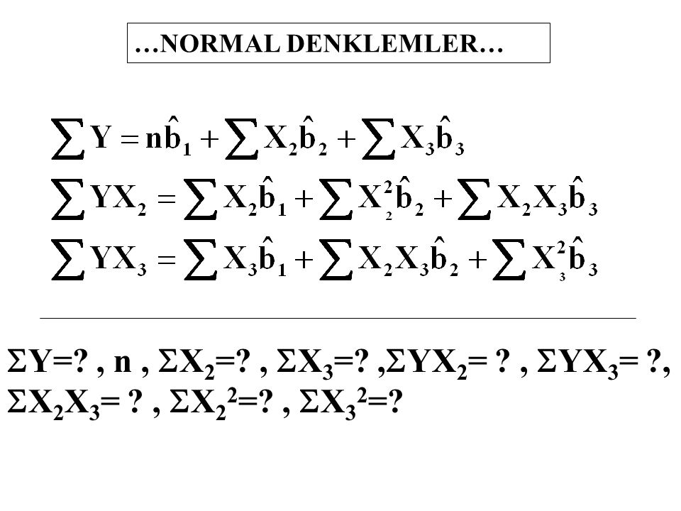 …NORMAL DENKLEMLER… SY= , n , SX2= , SX3= ,SYX2= , SYX3= , SX2X3= , SX22= , SX32=