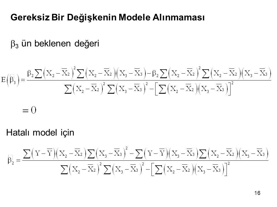 Gereksiz Bir Değişkenin Modele Alınmaması