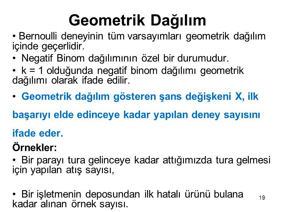 Geometrik Dağılım Bernoulli deneyinin tüm varsayımları geometrik dağılım içinde geçerlidir. Negatif Binom dağılımının özel bir durumudur.