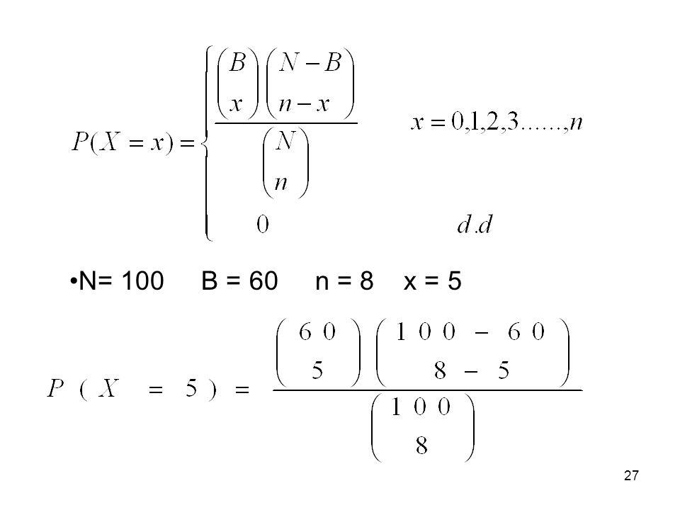 N= 100 B = 60 n = 8 x = 5