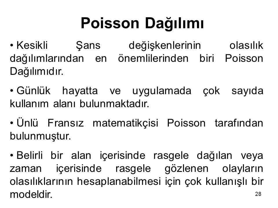 Poisson Dağılımı Kesikli Şans değişkenlerinin olasılık dağılımlarından en önemlilerinden biri Poisson Dağılımıdır.