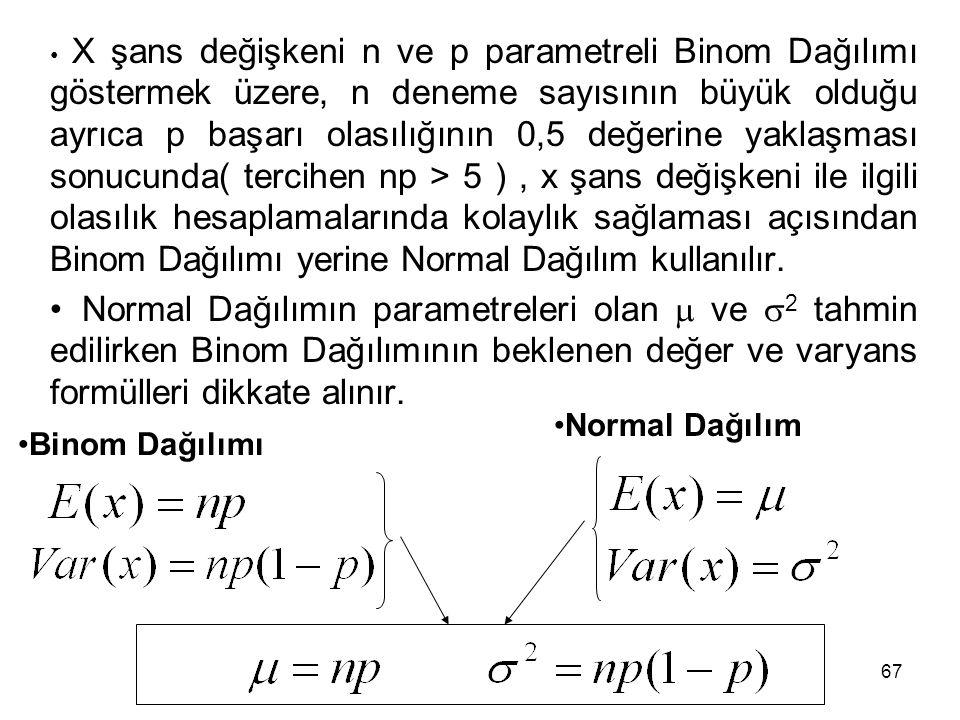 X şans değişkeni n ve p parametreli Binom Dağılımı göstermek üzere, n deneme sayısının büyük olduğu ayrıca p başarı olasılığının 0,5 değerine yaklaşması sonucunda( tercihen np > 5 ) , x şans değişkeni ile ilgili olasılık hesaplamalarında kolaylık sağlaması açısından Binom Dağılımı yerine Normal Dağılım kullanılır.