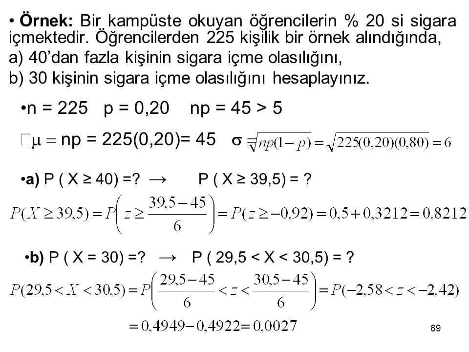 n = 225 p = 0,20 np = 45 > 5 m = np = 225(0,20)= 45 s =