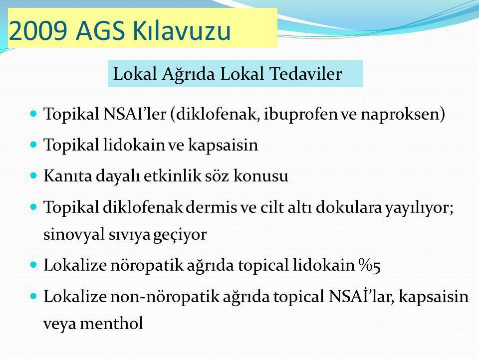2009 AGS Kılavuzu Lokal Ağrıda Lokal Tedaviler