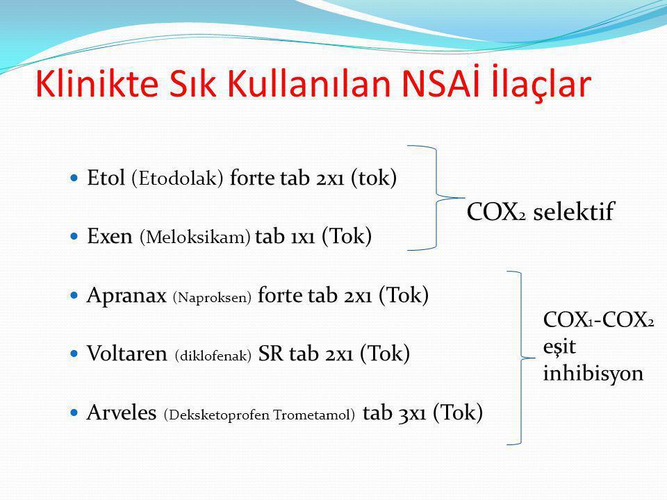 Klinikte Sık Kullanılan NSAİ İlaçlar