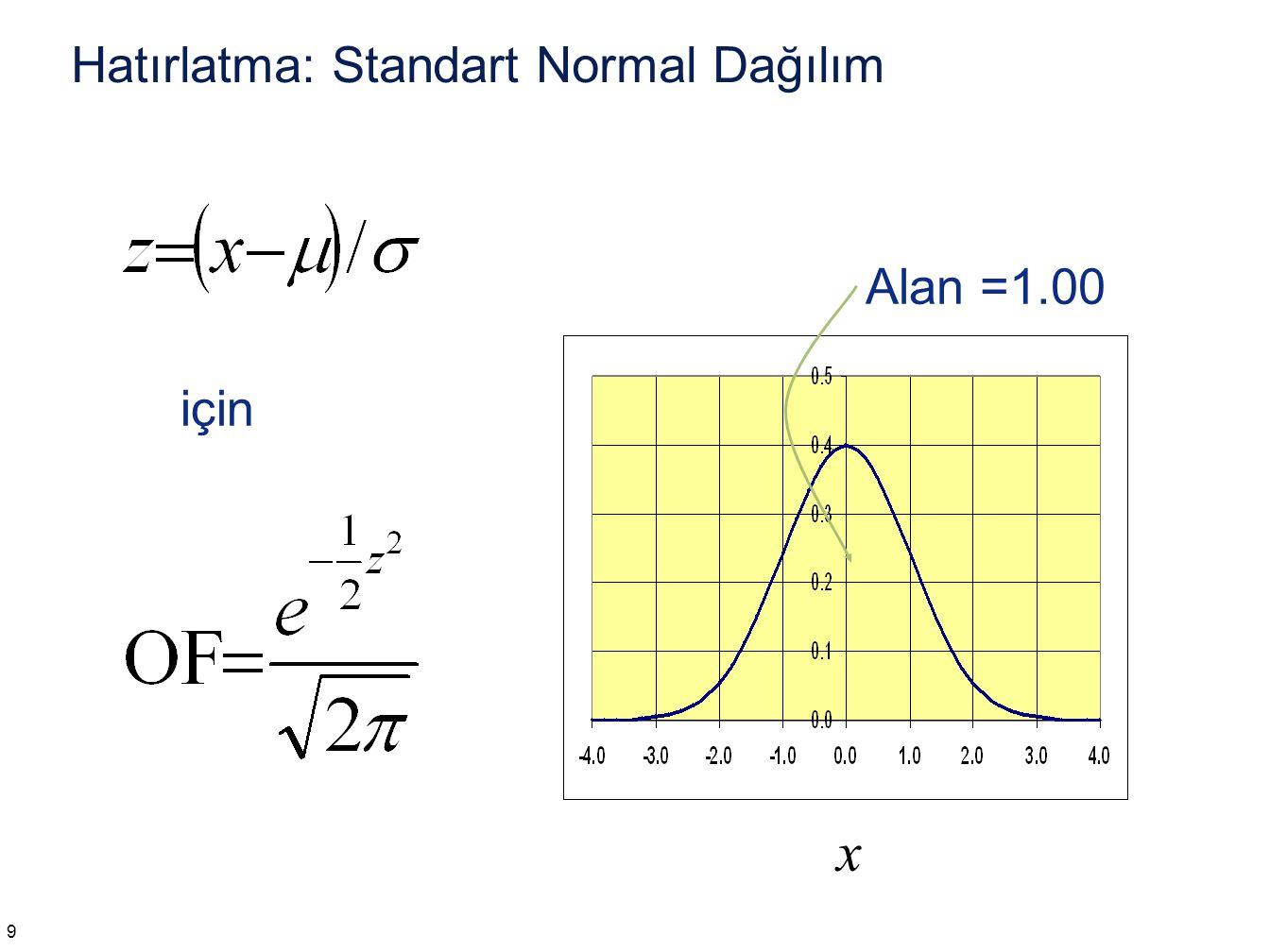 Excel: Z-dönüşümü =STANDARTLAŞTIRMA(x,ortalama,stdsapma) Örnek: