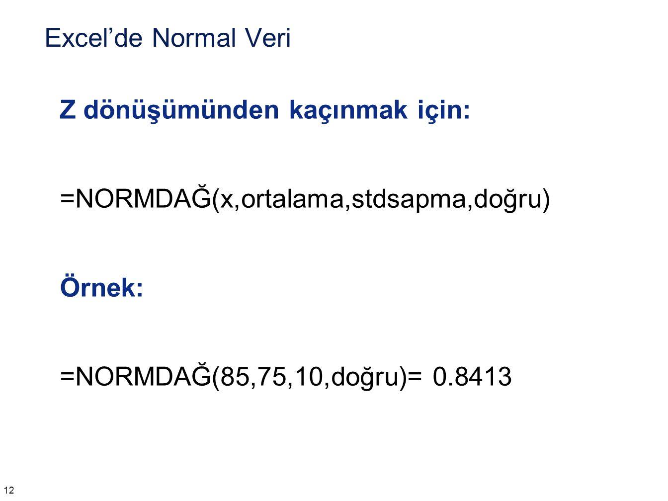 Verilen ,  ve olasılık için x =NORMTERS(olasılık,ortalama,stdsapma)
