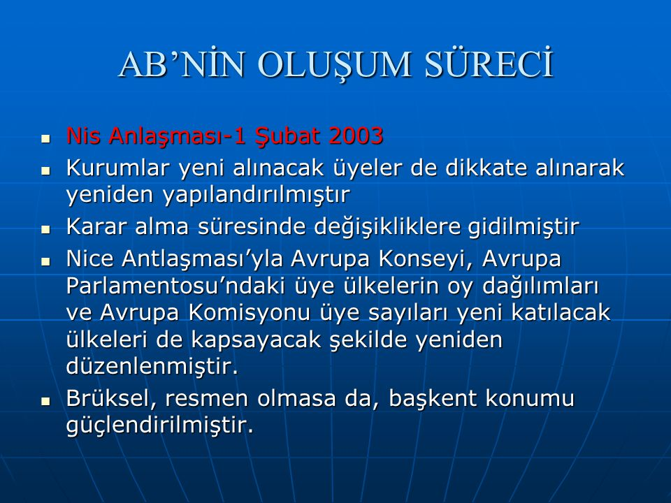 AB'NİN OLUŞUM SÜRECİ Nis Anlaşması-1 Şubat 2003