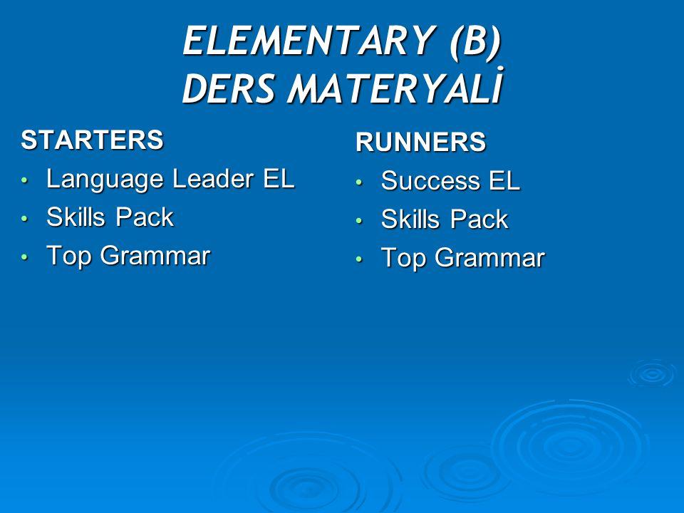 ELEMENTARY (B) DERS MATERYALİ