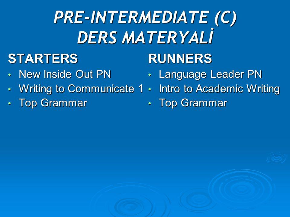 PRE-INTERMEDIATE (C) DERS MATERYALİ