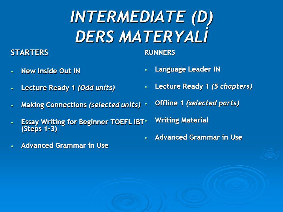 INTERMEDIATE (D) DERS MATERYALİ