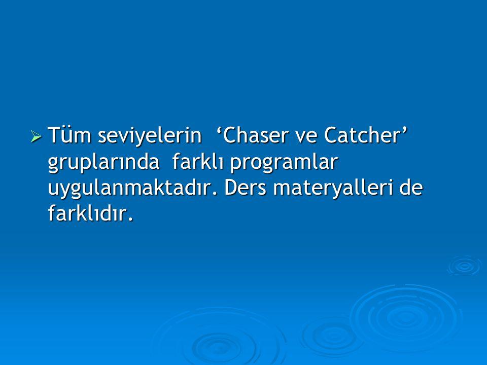 Tüm seviyelerin 'Chaser ve Catcher' gruplarında farklı programlar uygulanmaktadır.