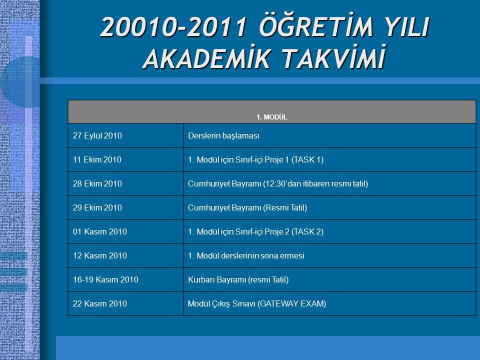 20010-2011 ÖĞRETİM YILI AKADEMİK TAKVİMİ