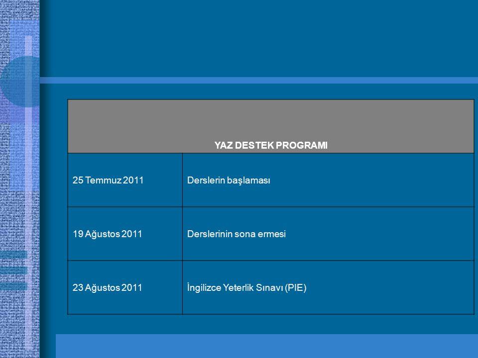 YAZ DESTEK PROGRAMI 25 Temmuz 2011. Derslerin başlaması. 19 Ağustos 2011. Derslerinin sona ermesi.