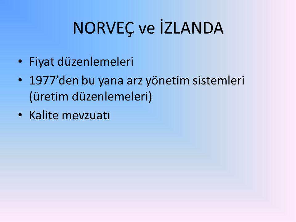 NORVEÇ ve İZLANDA Fiyat düzenlemeleri