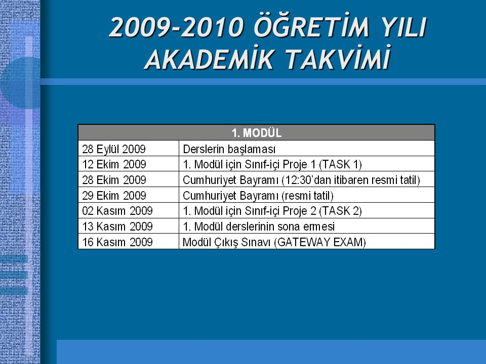 2009-2010 ÖĞRETİM YILI AKADEMİK TAKVİMİ