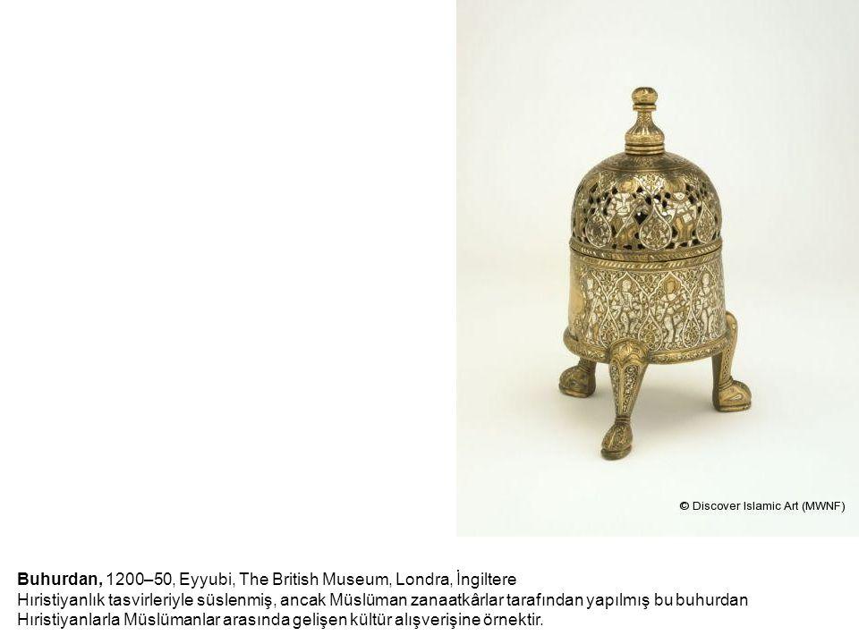 Buhurdan, 1200–50, Eyyubi, The British Museum, Londra, İngiltere Hıristiyanlık tasvirleriyle süslenmiş, ancak Müslüman zanaatkârlar tarafından yapılmış bu buhurdan