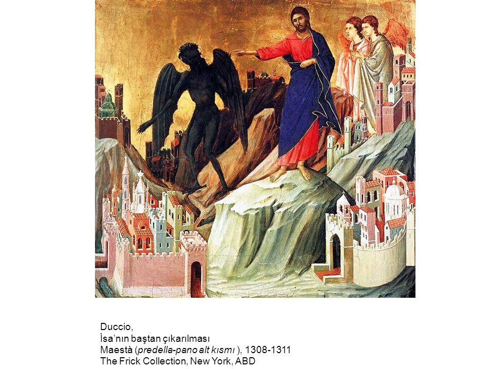 Duccio, İsa'nın baştan çıkarılması. Maestà (predella-pano alt kısmı ), 1308-1311.