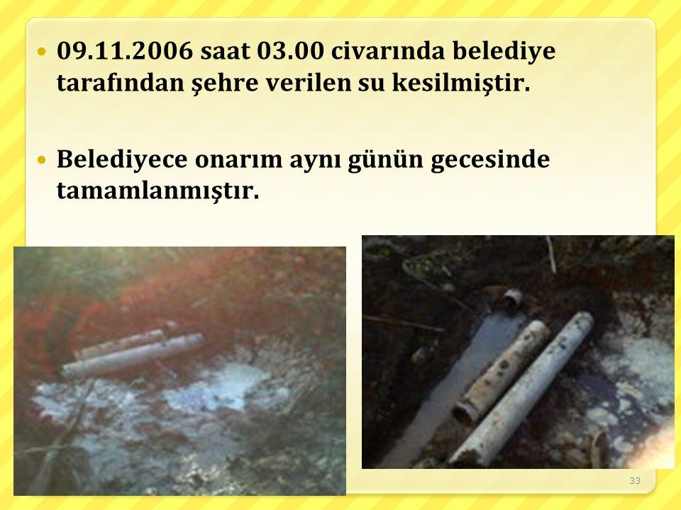 09.11.2006 saat 03.00 civarında belediye tarafından şehre verilen su kesilmiştir.