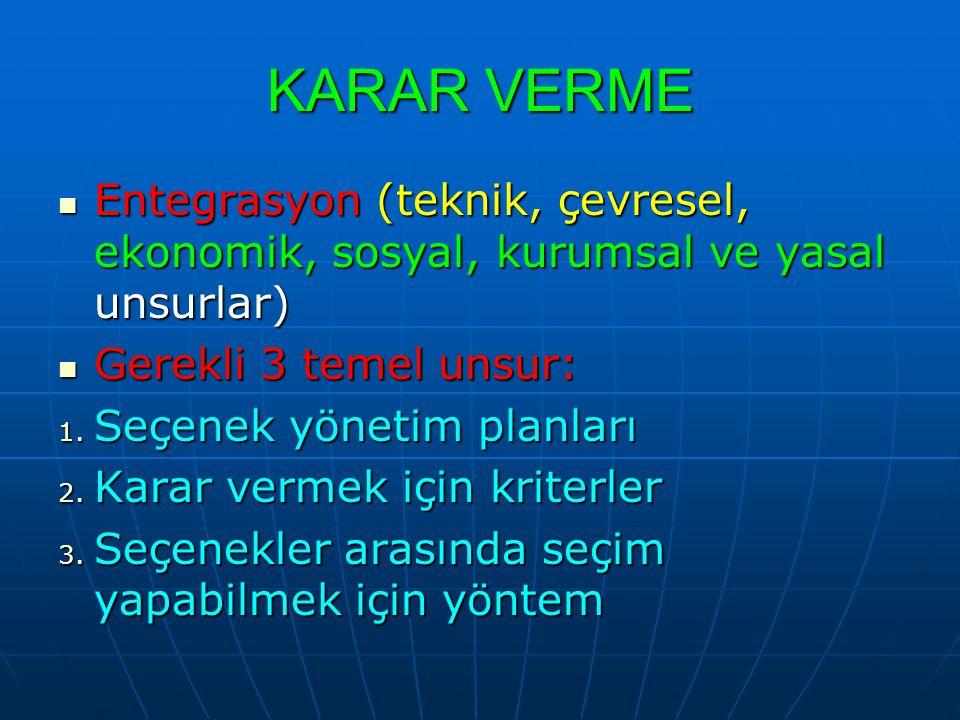 KARAR VERME Entegrasyon (teknik, çevresel, ekonomik, sosyal, kurumsal ve yasal unsurlar) Gerekli 3 temel unsur: